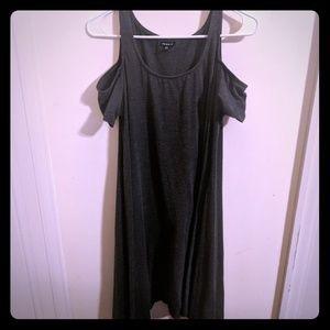 Torrid cold shoulder short sleeve trapeze dress.